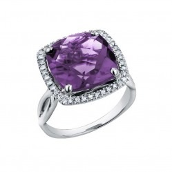 9ct White Gold Cushion-cut Amethyst and Diamond Halo Ring 52B73WG-10