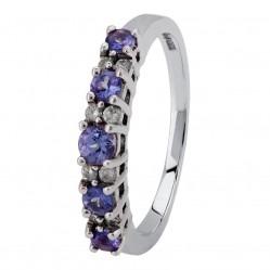 9ct White Gold Tanzanite and Diamond Half Eternity Ring 1597TZZD-W