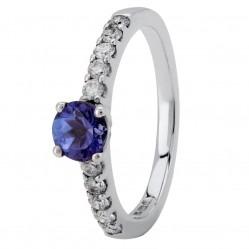 18ct White Gold Tanzanite and Diamond Shouldered Ring 183/TANZ/DI/18W