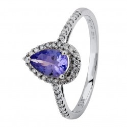 18ct White Gold Pear-cut Tanzanite and Diamond Shouldered Cluster Ring CR9350 18KW/TANZ