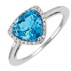 18ct White Gold Blue Topaz Diamond Halo Ring 18DR246-W