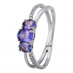 18ct White Gold Oval-cut Tanzanite Trilogy Diamond Split Shouldered Ring 18DR452/TZ/W/M