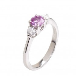 18ct White Gold Pink Sapphire and Diamond Trilogy Ring 18DR181-PS-W