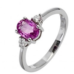 18ct White Gold Oval Pink Sapphire and Diamond Trilogy Ring 18DR184-PS-W M