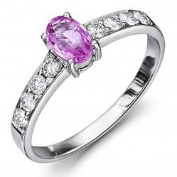 18ct White Gold Pink Sapphire Ring with Diamond Shoulders 18DR378-PS-W