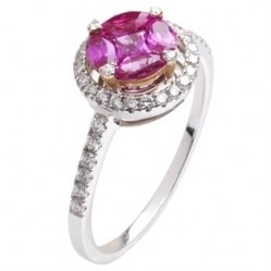 18ct White Gold Multi-cut Pink Sapphire and Diamond Cluster Ring 18DR445-PS-W N