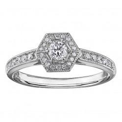 9ct White Gold Vintage Diamond Hexagonal Cluster Ring 3835WG/40-9