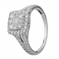 9ct White Gold 1.00ct Diamond Shouldered Square Cluster Ring SKR19764-100