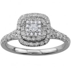 9ct White Gold 0.50ct Diamond Shouldered Double Halo Cluster Ring 3770WG-50-9