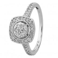 9ct White Gold 0.50ct Diamond Flower Cushion Cluster Ring SKR15485-50