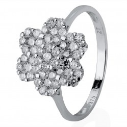 9ct White Gold Diamond Flower Cluster Ring BLPJR0217-D