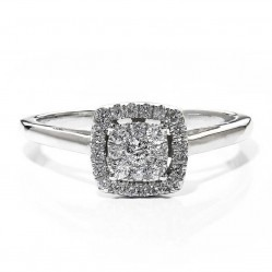 9ct White Gold Square Cluster Diamond Ring SKR10926-25