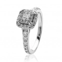 9ct White Gold 0.77ct Princess-cut Diamond Shouldered Cluster Ring 3643WG-77-9