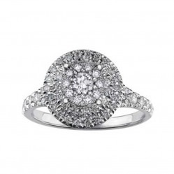 9ct White Gold 0.50ct Diamond Shouldered Double Halo Round Cluster Ring 3771WG-50-9