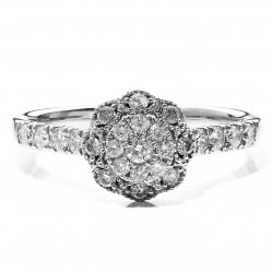 9ct White Gold 0.50ct Diamond Floral Cluster Ring SKR19151-75E