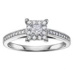 9ct White Gold Princess-cut Diamond Shouldered Cluster Ring 3499WG-33-9