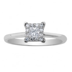 9ct White Gold Princess-cut Diamond Cluster Ring 1962WG-23-9