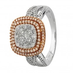 9ct Two Tone Gold 1.00ct Diamond Pave Cushion Cluster Ring SKR19477-100