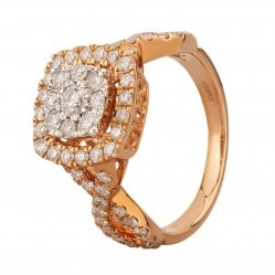 9ct Rose Gold 1.00ct Diamond Cross Shoulder Square Cluster Ring SKR19823-125E 9RG
