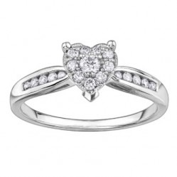 9ct White Gold Diamond Shouldered Heart Cluster Ring 3843WG-30-10