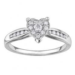 9ct White Gold Diamond Shouldered Heart Cluster Ring 3843WG-30-10