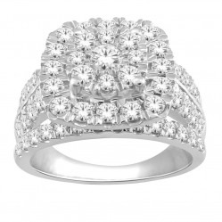 9ct White Gold Diamond Shouldered Cushion Cluster Ring SKR18930-200