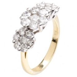 18ct Gold Diamond Fancy Triple Cluster Ring 18DR231-2C M