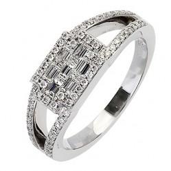 18ct White Gold Multi Cut Diamond Fancy Cluster Ring 18DR363-W L