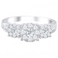 18ct White Gold Illusion Set Three Stone Diamond Cluster Ring SKR15119-100TB