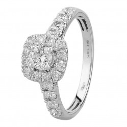 18ct White Gold 1.00ct Diamond Square Cluster Ring SKR15627-100