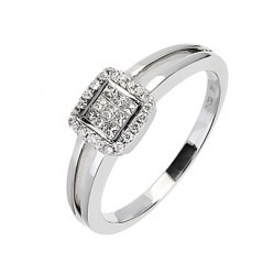 18ct White Gold 0.21ct Diamond Square Cluster Ring 18DR247-W