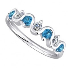 9ct White Gold Blue Topaz and Diamond Wave Eternity Ring 9051/9W/DQ10BT