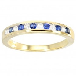 9ct Gold Sapphire and Diamond Channel Set Half Eternity Ring DSR115