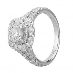18ct White Gold 1.50ct Certificated Diamond Split Shouldered Square Halo Ring SKR18549-200N-E