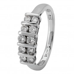 9ct White Gold Two Row Bar-set Diamond Half Eternity Ring CR9135 9KW/DIA M