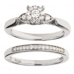 9ct White Gold 0.33ct Diamond Cluster Halo Bridal Set SKR11275-33 WG M