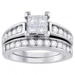 18ct White Gold Princess-cut Diamond Quad Bridal Set SKR9789