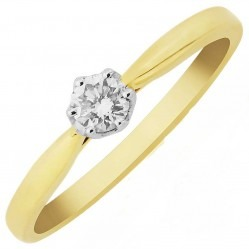 9ct Gold Six Claw Tiffany-Set 0.15ct Solitaire Diamond Ring DR867 M