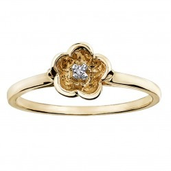 9ct Yellow Gold Diamond Flower Ring CH50