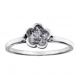 9ct White Gold Diamond Flower Ring CH50WG