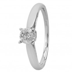 9ct White Gold Illusion Set 0.50ct Diamond Bridge Accent Solitaire Ring SKR15625-50