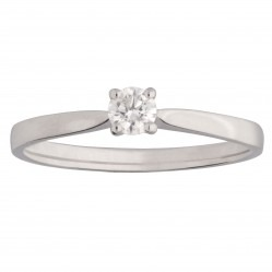 9ct White Gold Solitaire Diamond 4 Claw Ring 0.15ct 8645/9W/DQ1015