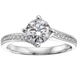 18ct White Gold 0.45ct Solitaire Diamond Shouldered Ring 3070WG-45-18 N