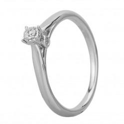 9ct White Gold Illusion Set 0.10ct Diamond Bridge Accent Diamond Solitaire Ring SKR20598-10