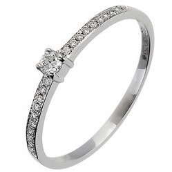18ct White Gold Solitaire Diamond Shoulders Ring 18DR339-W