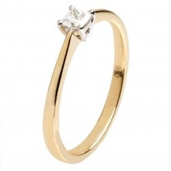 18ct Gold Princess Cut 0.16ct Diamond Solitaire Ring 18DR421-2C