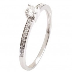 18ct White Gold 0.22ct Solitaire Diamond Shoulders Ring 18DR428-W