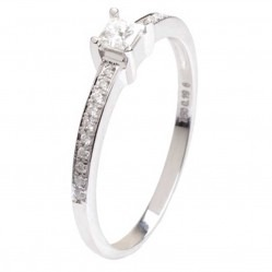 18ct White Gold 0.19ct Solitaire Diamond Shoulders Ring 18DR434-W