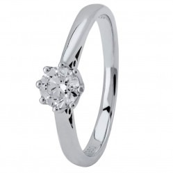 18ct White Gold Eight Claw Cathedral-Set Diamond Solitaire Ring (min 0.50ct) CR11065/18KW/.50CT