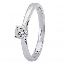 18ct White Gold Four Claw Basket-Set Diamond Solitaire Ring (min 0.30ct) CR11066/18KW/.30CT